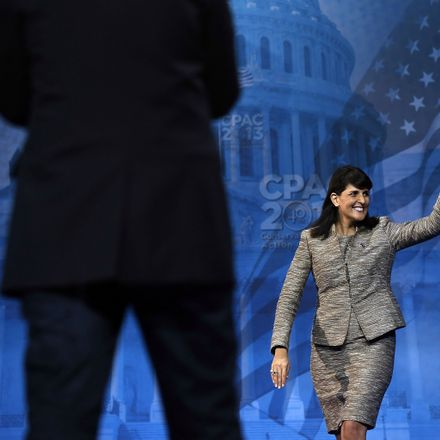 South Carolina Governor Nikki Haley waves on stage during the second day of the 40th annual Conservative Political Action Conference (CPAC) March 15, 2013 in National Harbor, Maryland.