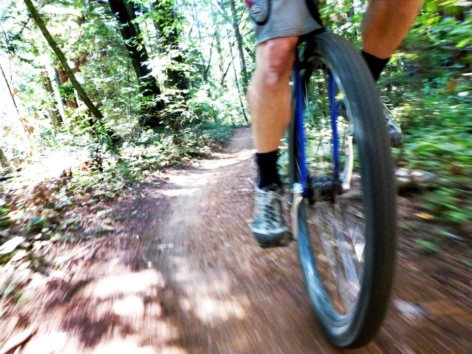 Unicyclist on a trail during the day