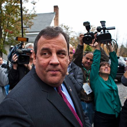 New Jersey Governor Chris Christie speaks with media after casting his vote during the New Jersey governor election in Mendham Township, New Jersey, in this November 5, 2013, file photo.
