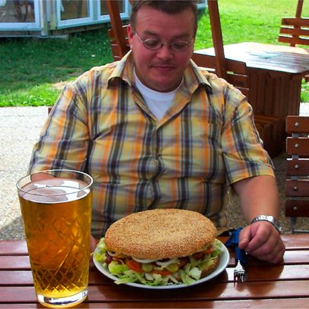 giant burger and beer