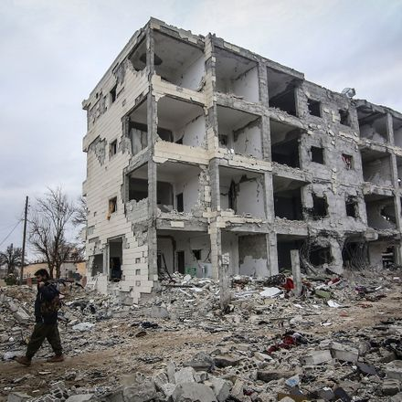 A bombed out building in Kobani Syria.