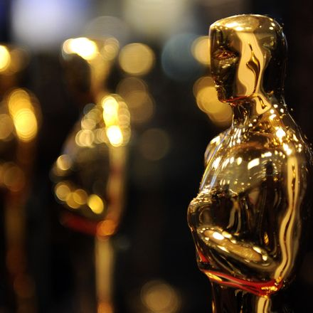 Oscars  statues lined up close up