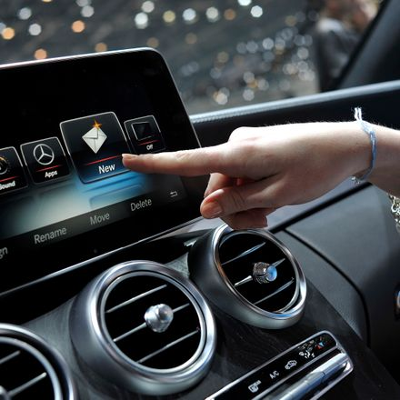 An Apple CarPlay screen is seen in a Mercedes-Benz car during the press day of the 84th International Motor Show which will showcase novelties of the car industry on March 5, 2014 in Geneva,