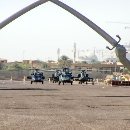 baghdad 2007 helicopters under crossed swords shutterstock 419916262