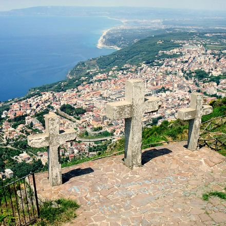 Calabria is the southernmost region of the Italian peninsula. Peak of Monte Sant'Elia (579 m) and view to Palmi.