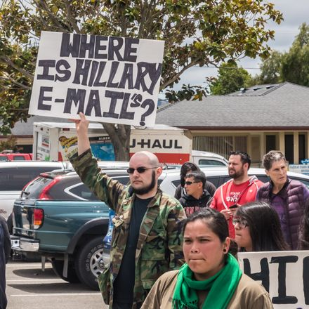 clinton email protest shutterstock 426518497