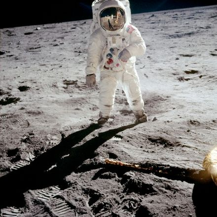 Neil Armstrong photographing Buzz Aldrin, both the first men to land on the moon!