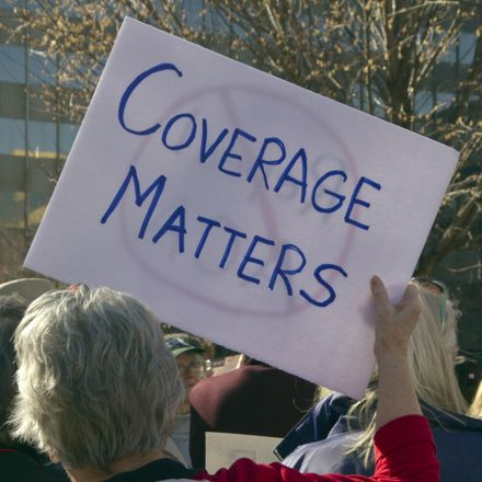 coverage matters sign at nc health care protest shutterstock 645796138