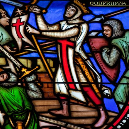 crusader stained glass shutterstock 122932558