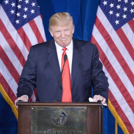 donald trump smiling with flags shutterstock 104301971