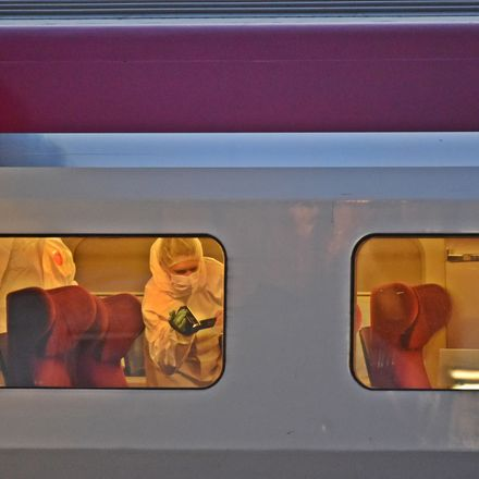 French investigators comb the inside of a high-speed train where three Americans thwarted a terror attack Friday night. One of them was a U.S. airman who had recently returned from Afghanistan. Source: Getty