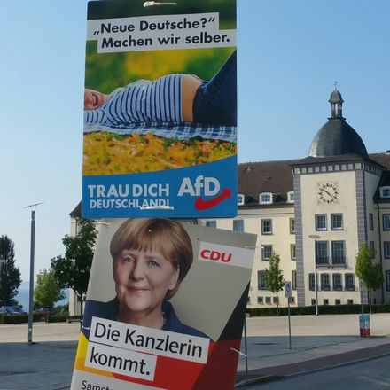 german election posters merkel and afd by erik n nelson ozy