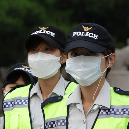 People wearing masks for MERS in South Korea