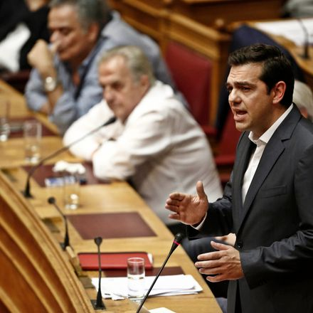 Alexis Tsipras, Greece's prime minister, speaks before a parliamentary vote on whether to accept bailout conditions in Athens, Greece, on Thursday, July 16, 2015