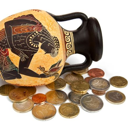 Greek amphora with euros-Greek debt-shutterstock_117560953
