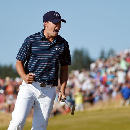 Jordan Spieth of the United States celebrates a birdie putt on the 16th green during the final round of the 115th U.S. Open Championship at Chambers Bay on June 21, 2015 in University Place, Washington