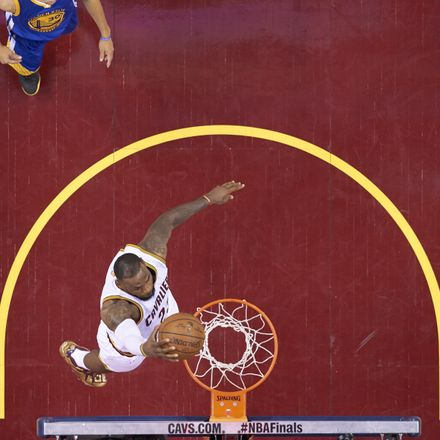 Aerial view of Cleveland Cavaliers LeBron James (23) in action, dunking vs Golden State Warriors at Quicken Loans Arena. Game 6. Cleveland, OH