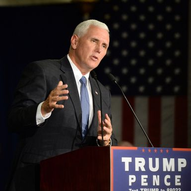 mike pence with name tag shutterstock 479350570 cr