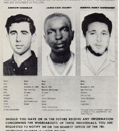 mississippi civil rights murders wanted poster