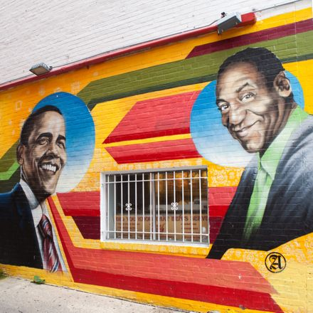 mural with barack obama and bill cosby shutterstock 300528797