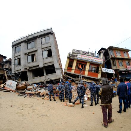 nepal earthquake tipping buildings getty 471237866