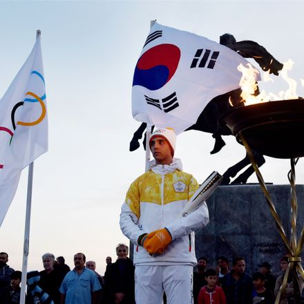 olympic torch starting in greece for pyeongchang south korea shutterstock 744722653