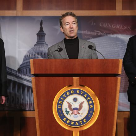 Sen. Rand Paul (R-KY) speaks during a news conference with Sen. Mike Lee (R-UT) (L) and Sen. Ted Cruz (R-TX) to announce a plan to defund the Patient Protection and Affordable Care Act, also known as Obamacare, at the U.S. Capitol March 13, 2013 in Washin