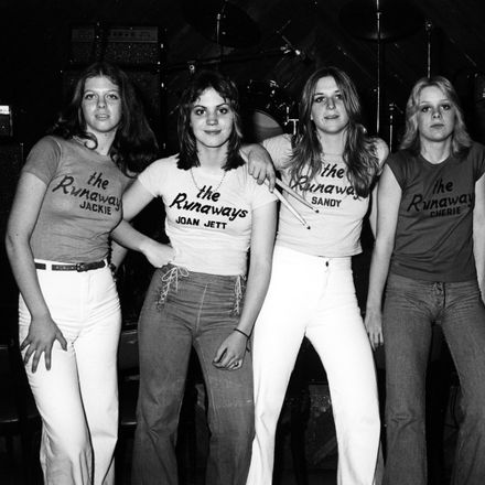 L-R Jackie Fox, Joan Jett, Sandy West, Cherie Currie and Lita Ford of the rock band 'The Runaways' pose for a portrait in Los Angeles, California in January 1976.