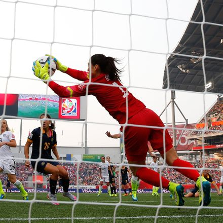 Goalkeeper Hope Solo #1 of United States makes a save in the first half against Australia during the FIFA Women's World Cup 2015 Group D match at Winnipeg Stadium on June 8, 2015 in Winnipeg, Canada.