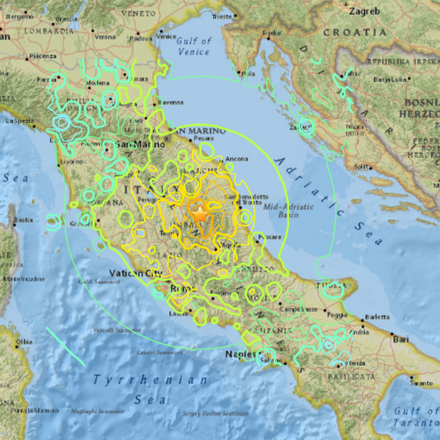 usgs umbria 6.6 earthquake map