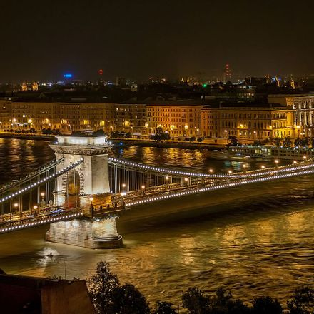 széchenyi chain bridge in budapest at night
