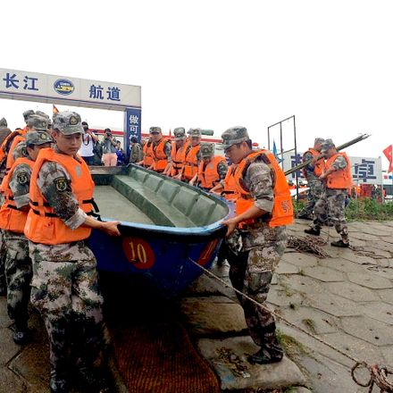 A rescue team heads out to search for survivors after a passenger ship carrying more than 450 people sank in China's Yangtze River.