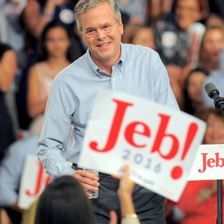 Former Florida Gov. Jeb Bush celebrates his candidacy for the 2016 presidential election in Miami.
