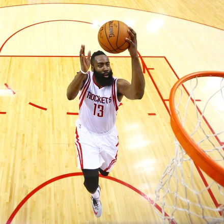 James Harden of the Houston Rockets shoots against the Golden State Warriors in Game 4.