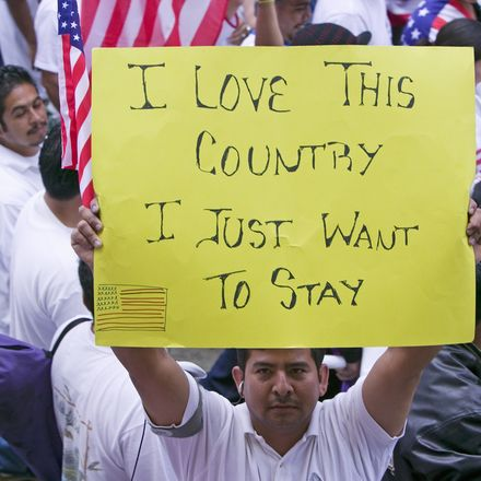 Immigrant at protest