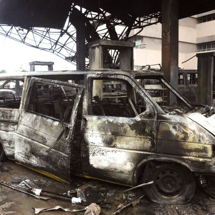 The aftermath of explosion at a fuel station in Accra, Ghana.
