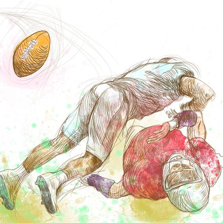 Football players fumble drawing shutterstock 116694454