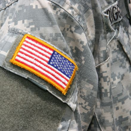 American flag patch soldier Iraq war camouflage shutterstock 14333026