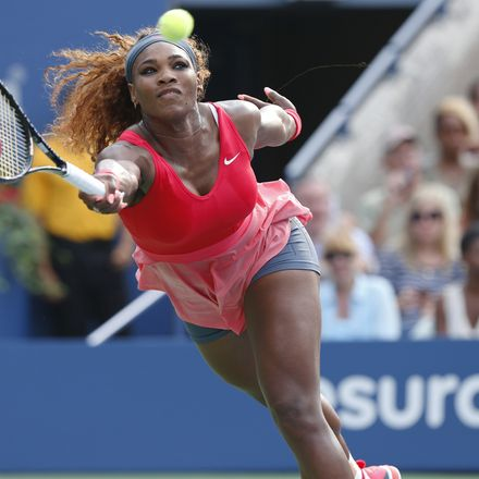 Serena Williams lunges for point tennis shutterstock 177046136