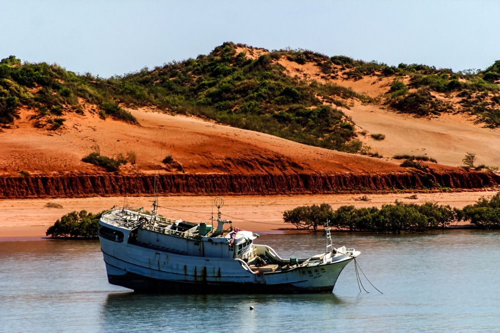 Former fishing boat used to transport illegal refugees from Indonesia to Australia