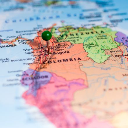 Colombia map with pin shutterstock 223855105