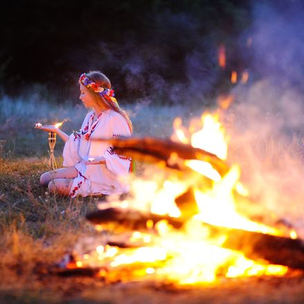 Pagan woman fire shutterstock 252452134