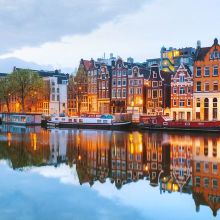 Night city view of Amsterdam, the Netherlands with Amstel river shutterstock 278852369