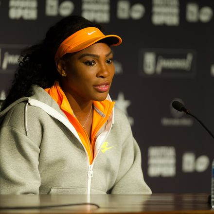 Serena Williams press conference shutterstock 282071456