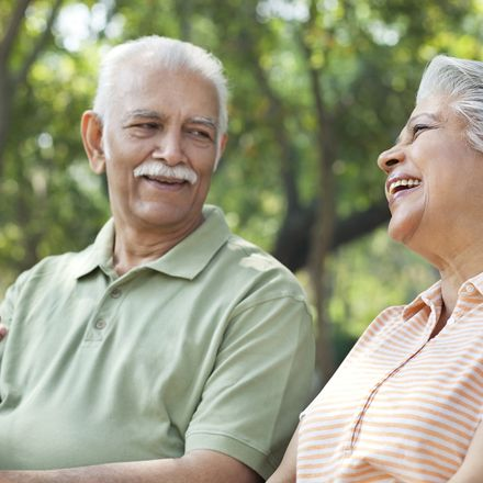 Old Indian couple laughing 286313534