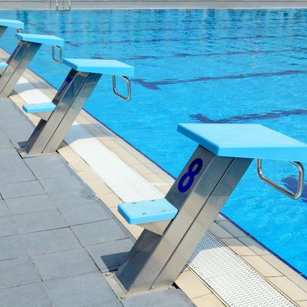 Detail from open air olympic swimming pool - starting places shutterstock 73357258