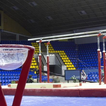 Professional sport stand with talc on gymnastic competition hall shutterstock 82319773