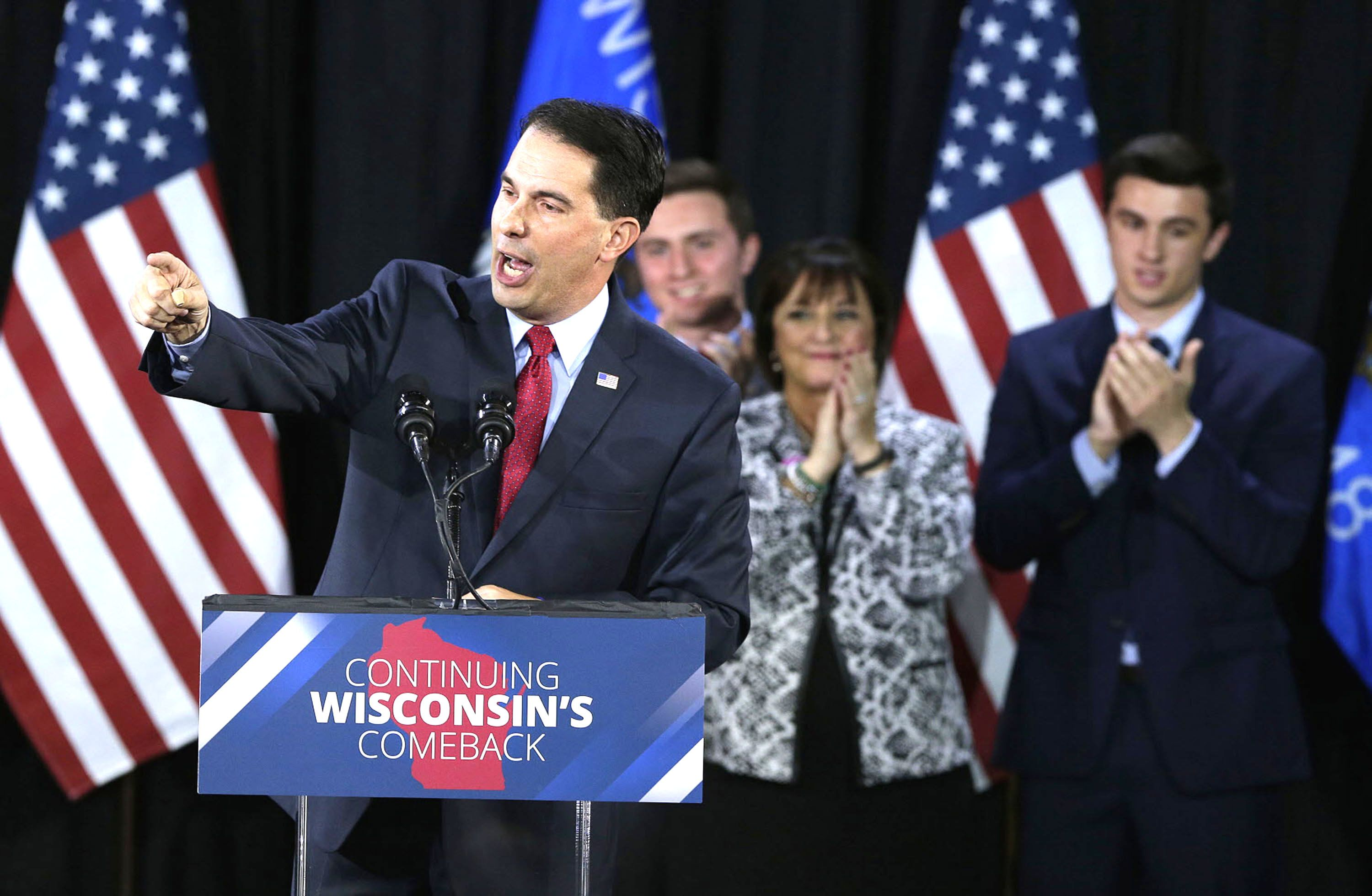 Wisconsin Republican Gov. Scott Walker thanks supporters after his reelection as governor.